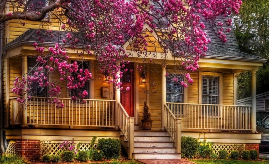 для весенние домики картинки трендом флористике